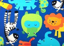 Wilmington Prints WILD ANIMALS (BLUE) 100% Cotton Premium FLANNEL Fabric-1/2 Yd