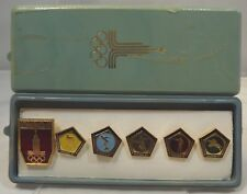 More details for vintage cased set of 6 moscow olympic pin badges 1980 russian soviet ussr