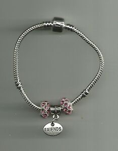 Silver Plated Bracelet with Friends Charm & Crystal Beads