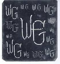 Große Monogramm Schablone WG  Jugendstil  Weißblech 15,5 x 18 cm Weissstickerei
