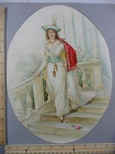 Rare Antique Original VTG Gowned Lady Walking Down Steps, Flower Litho Art Print