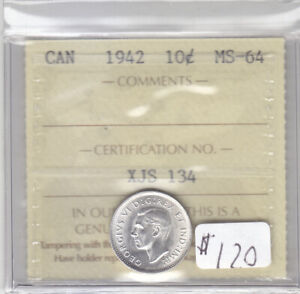 1942 CANADIAN 10 CENT COIN ICCS MS-64