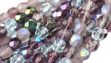 50 Lilac Mix Glass Firepolished Round Beads 6MM