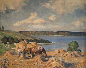 """BOERGE NYROP(1881-1948)""""LANDSCAPE WITH FARMER & SOME HORSES""""WELL-LISTED. FREE SH"""