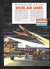 DELTA AIR LINES 1944 DC-3 AT NIGHT BF GOODRICH SILVERTOWN TIRES AD