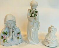 Figurine lot religious Mary angels music box white light ceramic Catholic gift