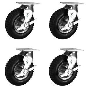 "Air Filled Black Rubber Pneumatic Swivel Braked Castors (200-300MM/8-12"")"