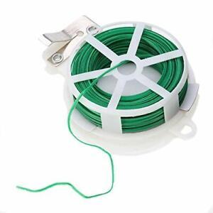 50m PVC Green Plastic Twist Tie Spool with Cutter for Garden Yard Plant Green