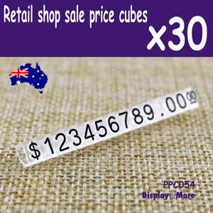 Price Tag CUBE Retail Shop Display | 30 Sets | BLACK Numeral | AUSSIE Seller