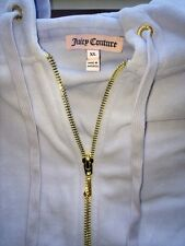 Juicy Couture Relaxed Jacket In Bridal Velour Size Xl Light Blue Cornflower