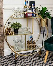 Large Round 3 Tier Drinks Trolley Gold 1930's Art Deco Glass Shelves