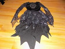 Size Medium 7-8 Gothic Enchantress Witch Sequin Skull Costume Dress Halloween