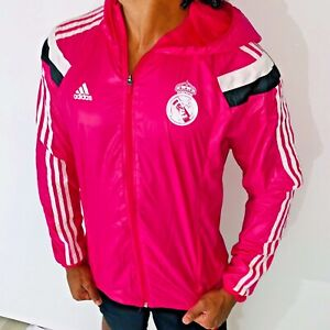 Rare Adidas Real Madrid Woven Nylon Glanz Anthem Jacket Pink Neon Sexy Large