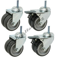 "4 - 75mm 3"" twin wheel grey rubber swivel and braked castors with bolt fitting"