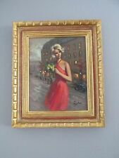 "Original Vintage Signed Barbie Art Painting Paris Cityscape 19""x16"" Gold Framed"