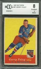 1957-58 topps #57 GERRY FOLEY new york rangers rookie card BGS BCCG 8
