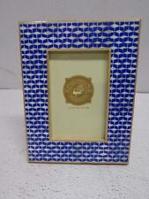 """Two's Company $48 Exotic Ikat Design Blue White Bone Bamboo 8 3/4"""" PICTURE FRAME"""