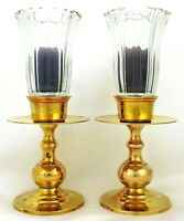 Vintage Heavy Brass Table Candle Holders With Peg Ribbed Glass Globes Set Of 2
