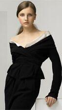 $1,895 Donna Karan Black Label Collection Off Shoulder Wrap Blouse Jacket Sz 4