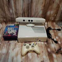 Microsoft Xbox 360 Slim S White Console W/ Kinect & 4 Games (No Hard Drive) Read