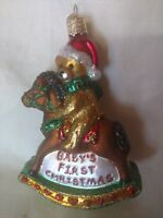 Ornament Glass Baby's First Christmas Old World Teddy Bear on Rocking Horse OWC