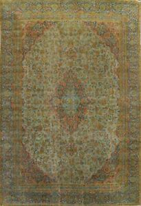 Antique Distressed Floral Traditional Oriental Area Rug Overdyed Handmade 9x12