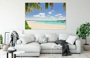 BEAUTIFUL BEACH BLUE SEA art Home decor High quality Canvas print choose size