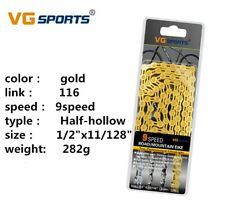 VG Sports 9 Speed MTB Road Bike Bicycle Chain 116L Half-Hollow Chain Silver/Gold