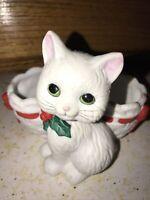 Lefton China 05876 Christmas Cat White w/ Basket Dish Trinket Holder Holly 1987