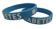 CLEARANCE! > Adult Blue Diabetes Silicone Bracelet (Lot of 2)