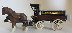 ERTL Horse Drawn Truck Gas A Fuel Delivered In Pipes Diecast  Bank W/ Key