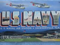 WWII Navy Photo Post Card Naval Air Station Jacksonville Florida Not Used WW2