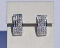 Echt 925 Sterling Silber Ohrringe Creolen mit Zirkonia Hochzeit Nr 216