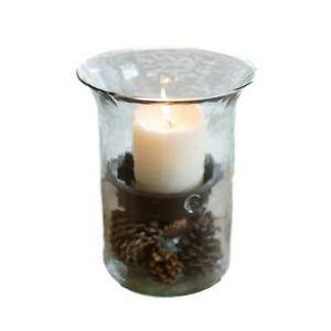 Ripple Clear Glass 11 in Candle Hurricane Rustic Pillar Holder Display Vase