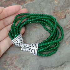 8'' 7 strands Green Jade Bracelet Cz Clasp