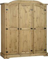 Quality Corona Solid Mexican Pine 3 Door Triple Wardrobe Arch Top OIRIGINAL 83KG