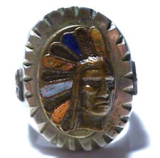 MEXICO MEXICAN BIKER RING INDIAN CHIEF MOTORCYCLE ENAMEL SHIELD SOUVENIR RING