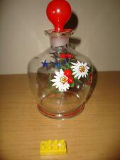 1 herrliche Poschinger Glaskaraffe, Emailmalerei,Dekpor Gebirgsblumen neuwertig