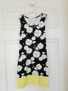 Justice Girls Size 8 Daisy Twirl Dress Yellow Black Sequins