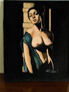 Nude American Woman Oil Painting on Black Velvet 19x23
