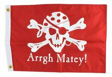 Arrgh Matey Red Pirate Flag Skull and Cross Bones Boats Home Double Sided Decor