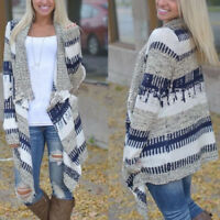 Women's Irregular Knitted Sweater Long Sleeve Coat Color Matching Cardigan New