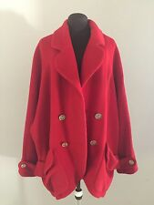 CHANEL Boutique Vintage Red Draped Coat Jacket CC Buttons Retail 4,540
