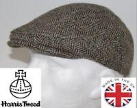 Genuine Harris Tweed Flat Cap Brown Beige S,M,L,XL,XXL   NEW
