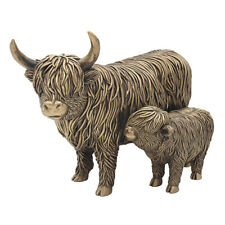 More details for leonardo bronzed highland cow mother & calf ornament sculpture figure gift boxed