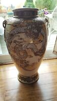 "Huge Antique Meiji period Japanese Dragon & pearl satsuma vase 22"" tall"