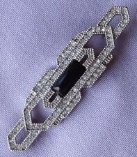 Black Glass Stone Bar Brooch Vintage Art Deco Diamante &