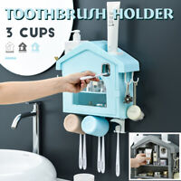 Multifunction Toothbrush Cosmetics Holder Auto Toothpaste Dispenser Cups Rack