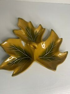 Ceramic 3 Leaf Candy Relish Dish Fall Autumn Brown Green