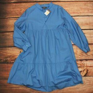 PRIMARK Atmosphere Blue Shirt Dress UK 14 100% Cotton NEW